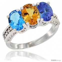 14K White Gold Natural Swiss Blue Topaz, Citrine & Tanzanite Ring 3-Stone 7x5 mm Oval Diamond Accent