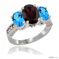 14K White Gold Ladies 3-Stone Oval Natural Garnet Ring with Swiss Blue Topaz Sides Diamond Accent