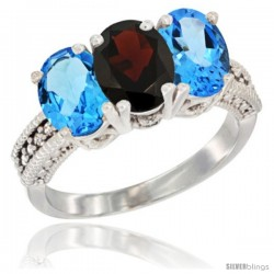 14K White Gold Natural Garnet & Swiss Blue Topaz Sides Ring 3-Stone 7x5 mm Oval Diamond Accent