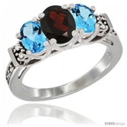 14K White Gold Natural Garnet & Swiss Blue Topaz Ring 3-Stone Oval with Diamond Accent