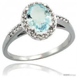 14k White Gold Diamond Aquamarine Ring Oval Stone 8x6 mm 1.17 ct 3/8 in wide