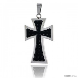 Stainless Steel Maltese Cross Pendant w/ Carbon Fiber, 1 3/8 in (35 mm) tall, w/ 30 in Chain