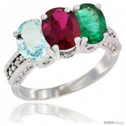 14K White Gold Natural Aquamarine, Ruby & Emerald Ring 3-Stone Oval 7x5 mm Diamond Accent