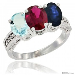 14K White Gold Natural Aquamarine, Ruby & Blue Sapphire Ring 3-Stone Oval 7x5 mm Diamond Accent