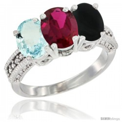 14K White Gold Natural Aquamarine, Ruby & Black Onyx Ring 3-Stone Oval 7x5 mm Diamond Accent