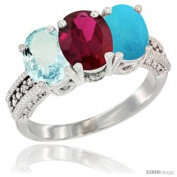 14K White Gold Natural Aquamarine, Ruby & Turquoise Ring 3-Stone Oval 7x5 mm Diamond Accent