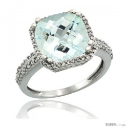 14k White Gold Diamond Halo Aquamarine Ring Checkerboard Cushion 11 mm 5.85 ct 1/2 in wide