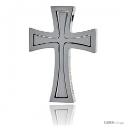 Stainless Steel Cross Pendant, 1 1/2 in tall, w/ 30 in Chain