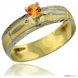 10k Gold Ladies' Solitaire 0.25 Carat Orange Sapphire Engagement Ring Diamond-cut Pattern Rhodium Accent, 3/16 -Style 10y502er