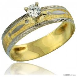 10k Gold Ladies' Solitaire 0.25 Carat White Sapphire Engagement Ring Diamond-cut Pattern Rhodium Accent, 3/16 -Style 10y502er
