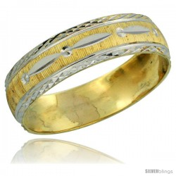10k Gold Ladies' Wedding Band Ring Diamond-cut Pattern Rhodium Accent, 3/16 in. (4.5mm) wide -Style 10y502lb