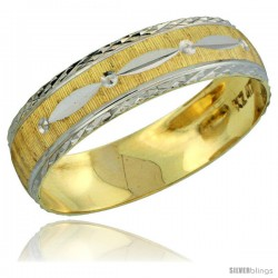 10k Gold Men's Wedding Band Ring Diamond-cut Pattern Rhodium Accent, 7/32 in. (5.5mm) wide -Style 10y502mb