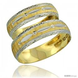 10k Gold 2-Piece Wedding Band Ring Set Him & Her 5.5mm & 4.5mm Diamond-cut Pattern Rhodium Accent -Style 10y502w2