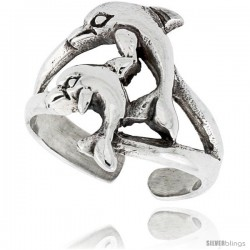 Sterling Silver Double Dolphin Adjustable (Size 3 to 6) Toe Ring / Kid's Ring, 5/8 in. (16 mm) wide