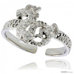 Sterling Silver Chinese Dragon Adjustable (Size 3 to 6) Toe Ring / Kid's Ring, 3/8 in. (10 mm) wide