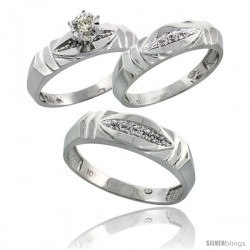 10k White Gold Diamond Trio Wedding Ring Set His 6mm & Hers 5mm -Style 10w121w3