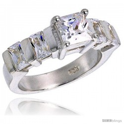 Sterling Silver 4.00 Carat Size Princess & Emerald Cut Cubic Zirconia Bridal Ring, 1/4 in (7 mm) wide
