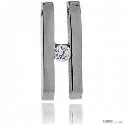 Stainless Steel Double Bar H Pendant w/ 4 mm Crystal, 7/8 in tall, w/ 30 in Chain