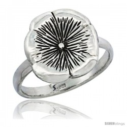 Sterling Silver Movable Flower Ring 1/2 in wide