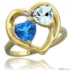 14k Yellow Gold 2-Stone Heart Ring 6mm Natural Swiss Blue & Aquamarine Diamond Accent