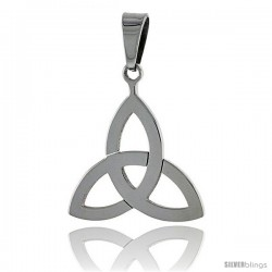 Stainless Steel Celtic Triquetra Holy Trinity Pendant, 7/8 in tall, w/ 30 in Chain