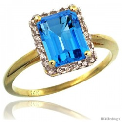 14k Yellow Gold Diamond Swiss Blue Topaz Ring 1.6 ct Emerald Shape 8x6 mm, 1/2 in wide
