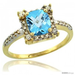 14k Yellow Gold Diamond Halo Swiss Blue Topaz Ring 1.2 ct Checkerboard Cut Cushion 6 mm, 11/32 in wide