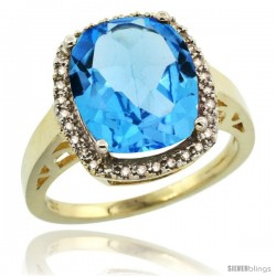 14k Yellow Gold Diamond Swiss Blue Topaz Ring 5.17 ct Checkerboard Cut Cushion 12x10 mm, 1/2 in wide