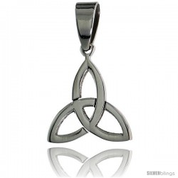 Stainless Steel Celtic Triquetra Holy Trinity Pendant, 5/8 in tall, w/ 30 in Chain