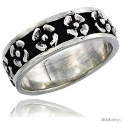 Sterling Silver 4-Petal Flower Wedding Band Ring 1/4 in wide
