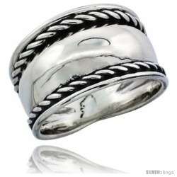 Sterling Silver Domed Cigar Wedding Band Ring w/ Rope Edge Design 7/16 in wide
