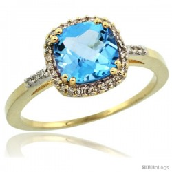 14k Yellow Gold Diamond Swiss Blue Topaz Ring 1.5 ct Checkerboard Cut Cushion Shape 7 mm, 3/8 in wide