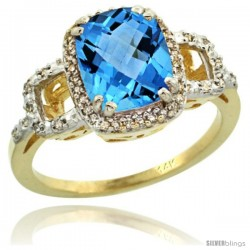 14k Yellow Gold Diamond Swiss Blue Topaz Ring 2 ct Checkerboard Cut Cushion Shape 9x7 mm, 1/2 in wide