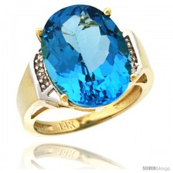 14k Yellow Gold Diamond Swiss Blue Topaz Ring 9.7 ct Large Oval Stone 16x12 mm, 5/8 in wide