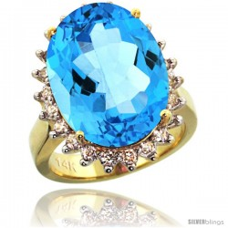 14k Yellow Gold Diamond Halo Swiss Blue Topaz Ring 10 ct Large Oval Stone 18x13 mm, 7/8 in wide