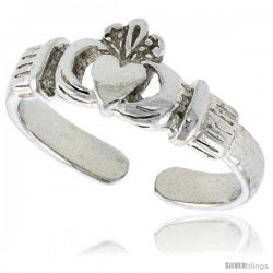 "Sterling Silver ""Irish Friendship Symbol"" Claddagh Adjustable (Size 3.5 to 6.5) Toe Ring / Kid's Ring, 5/16 in. (8 mm) wide"