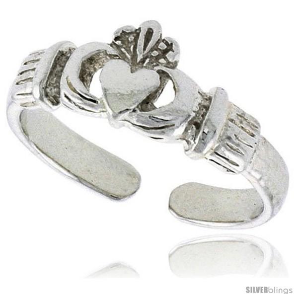 Sterling Silver Irish Friendship Symbol Claddagh Adjustable Size