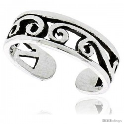 Sterling Silver Swirl Adjustable (Size 2.5 to 4.5) Toe Ring / Kid's Ring, 3/16 in. (5 mm) wide