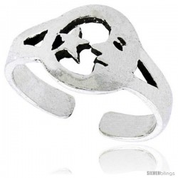 Sterling Silver Crescent Moon & Star Adjustable (Size 3.5 to 6.5) Toe Ring / Kid's Ring, 3/8 in. (9 mm) wide