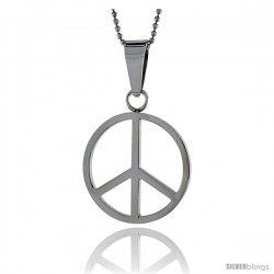 Stainless Steel Peace Sign Pendant, 1 3/16 in tall, w/ 30 in Chain