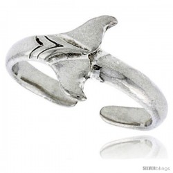 Sterling Silver Whale Tail Adjustable (Size 3.5 to 6.5) Toe Ring / Kid's Ring, 3/8 in. (9 mm) wide