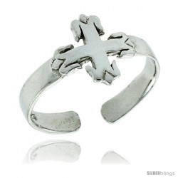 Sterling Silver Cross Fleury Adjustable (Size 3.5 to 6.5) Toe Ring / Kid's Ring, 3/8 in. (9 mm) wide