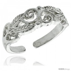 Sterling Silver Swirls & Leaves Adjustable (Size 3.5 to 6.5) Toe Ring / Kid's Ring, 1/4 in. (6 mm) wide