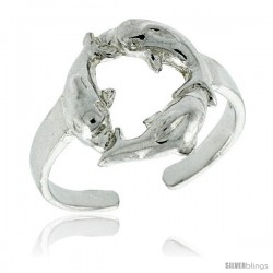 Sterling Silver Triple Dolphin Adjustable (Size 3 to 6) Toe Ring / Kid's Ring, 1/2 in. (12 mm) wide