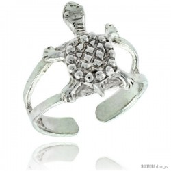 Sterling Silver Turtle Adjustable (Size 3 to 6) Toe Ring / Kid's Ring, 1/2 in. (13 mm) wide