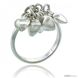 Sterling Silver (Size 3 to 5) Toe Ring / Kid's Ring w/ Clustered Heart Charms, 3/32 in. (2 mm) wide