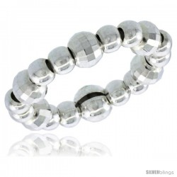 Sterling Silver Stretchable Bead Toe Ring / Kid's Ring on Elastic White Band, 5/32 in. (4 mm) wide