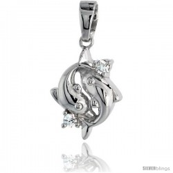 "Sterling Silver Jeweled Dolphin Pendant, w/ Cubic Zirconia stones, 5/8"" (16 mm) -Style Tp0896"