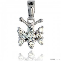 "Sterling Silver Jeweled Butterfly Pendant, w/ Cubic Zirconia stones, 7/16"" (11 mm)"