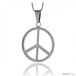 Stainless Steel Large Peace Sign Pendant, 1 5/8 in tall, w/ 30 in Chain